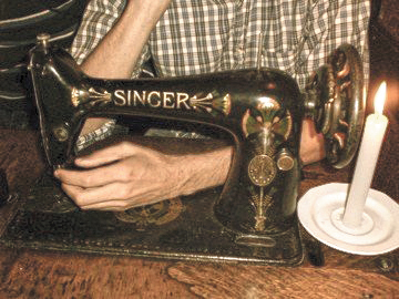 A sewing machine as a table at a bar in Krakow's old Singer factory. Photo: Masha Kisel.