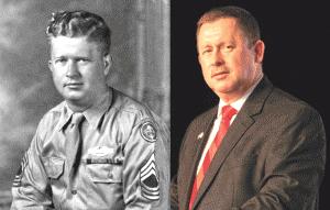 Master Sgt. Roddie Edmonds (L); his son, Pastor Chris Edmonds